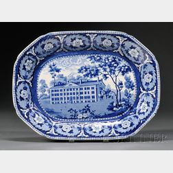 Historical Blue and White Transfer-decorated Staffordshire Pottery Platter