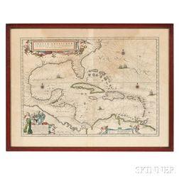 North America: Gulf Coast, Florida, and the Caribbean. Willem Janszoon Blaeu (1571-1638) Insulae Americanae in Oceano Septentrionali cu