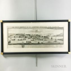 Framed Restrike of Samuel and Nathaniel Buck's The West Prospect of His Majesties Dock-Yard, Near Plymouth