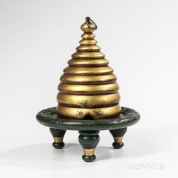 Gold- and Green-painted Rebekah Beehive