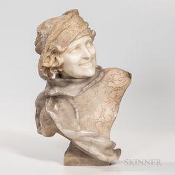 Carved Alabaster Bust of a Smiling Lady