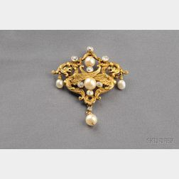 Art Nouveau 14kt Gold, Pearl, and Diamond Brooch