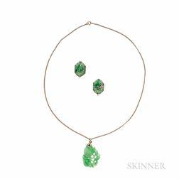 Jade Pendant and Earrings