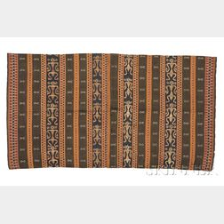 Indonesian Woven Cotton and Embroidered Silk Textile