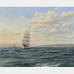 Lynn Roger Williams (British, 20th Century)      Out of Bristol, Off Berrow Flats, Four-Masted Barque on the Evening Tide