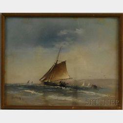 Continental School, 20th Century      Dutch Fishing Vessel in a Stiff Wind.