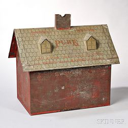 Paint-decorated House-form Flour Tin