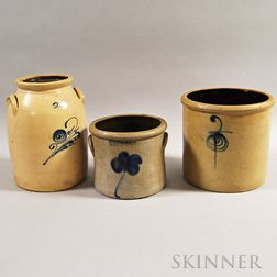 Three Cobalt Floral-decorated Stoneware Vessels