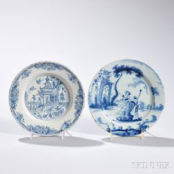 Two Tin-glazed Blue Decorated Earthenware Plates
