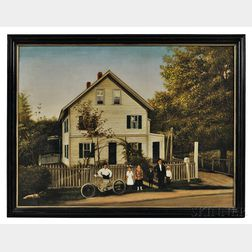 American School, Early 20th Century      House Portrait with Family in Front of White Picket Fence