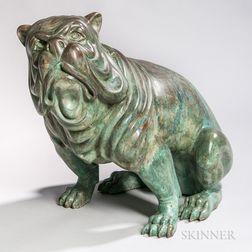 Figure of a Bronze Bulldog