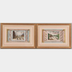 Jan Lamsvelt (Dutch, 16840-1743) and Pieter van der Aa (Dutch, 1659-1733)  Two Framed Views: Le Monté de la Cour, des Font...