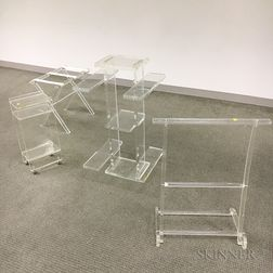 Lucite Luggage Rack, Towel Rack, and Stand on Wheels