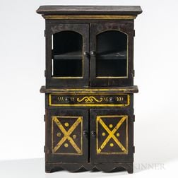 Miniature Paint-decorated Stepback Cupboard