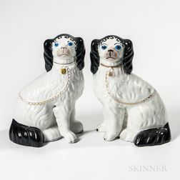 Rare Pair of Porcelain King Charles Spaniels with Blue Eyes