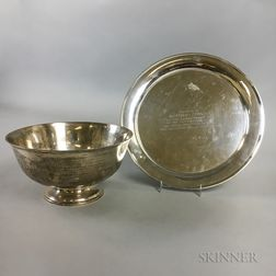 Wallace Sterling Silver Footed Bowl and Sterling Silver Commemorative Plate