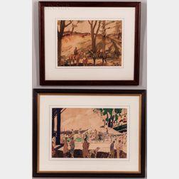 American/European School, 20th Century      Two Watercolor Equestrian Scene Studies: Huntsmen