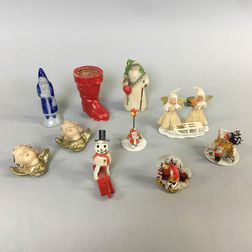Ten Christmas-themed Ceramic and Composition Figures