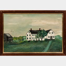American School, Late 19th Century      Portrait of a White-painted Farmhouse