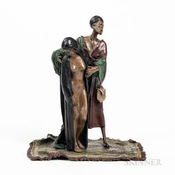 After Franz Bergman, Cold-painted Bronze Figure of a Slave Trader