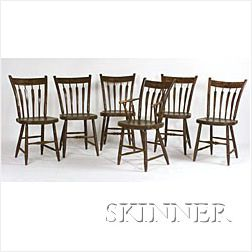 Set of Seven Brown Painted and Decorated Thumb-back Chairs,