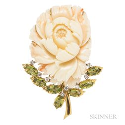 18kt Gold, Coral, Peridot, and Diamond Brooch