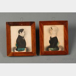 Attributed to James Sanford Ellsworth (American, 1802/03- 1874)      Pair of  Portrait Miniatures of Henry and Elizabeth Crawford.