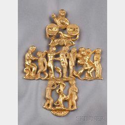 Artist-designed 14kt Gold Pendant Cross, Eric de Kolb