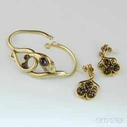 Two Pieces of Victorian-style Gold and Garnet Jewelry