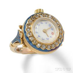 Edwardian 18kt Gold, Enamel, and Diamond Ring Watch