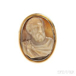 Gold and Carnelian Cameo Brooch