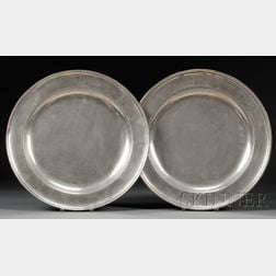 Two Pewter Chargers
