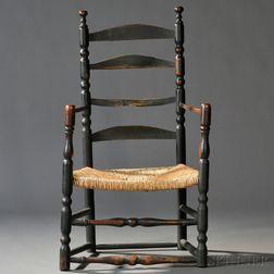 Dark Green-painted Slat-back Armchair