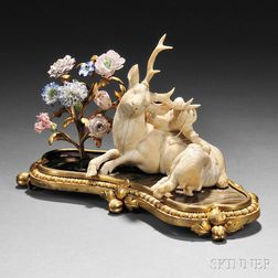 French Japonisme Ivory, Gilt-bronze, Lacquer and Porcelain Figurine