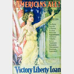 Framed Howard Chandler Christy Americans All! Victory Liberty Loan   Poster