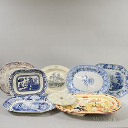 Eight English Transfer-decorated Ceramic Platters