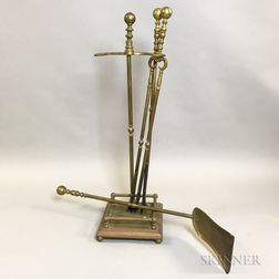 Set of Three Brass Fireplace Tools and a Stand