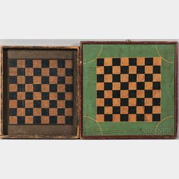 Two Polychrome Painted Pine Checkers Game Boards