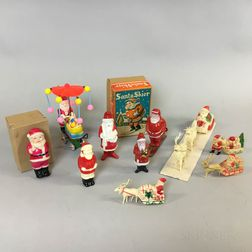 Ten Celluloid Santa Claus Toys