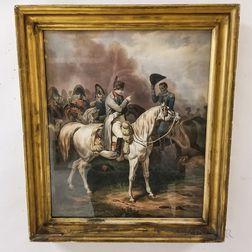Framed Hand-colored Lithograph of Napoleon After Bellange