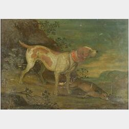 Anglo/American, 19th Century  Lot of Two Hunting Scenes with Hounds and Game.