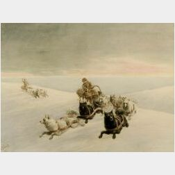 George Albert Frost (American, 1843-1907)  The Home Stretch  /A Dog Sledding Scene