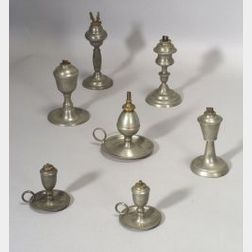 Seven Assorted Pewter Lamps