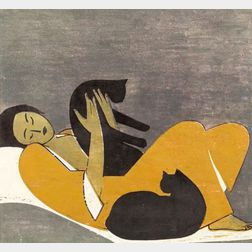 Will Barnet (American, b. 1911)    Woman and Cats
