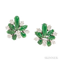 Platinum, Nephrite Jade, and Diamond Earclips