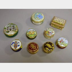 Seven Halcyon Days Enamel Boxes and Two Others