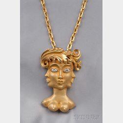 Artist-designed 14kt Gold Pendant, Eric de Kolb