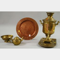 Russian Brass Samovar with Kettle, Bowl, and Undertray, and a Handwrought Copper   Serving Tray