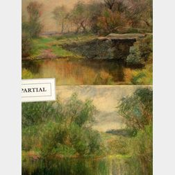 Charles Franklin Pierce (American, 1844-1920) Six Landscapes. Unsigned. Pastel on paper, sizes to 11 x 15 in., unframed. Provenance: Pu