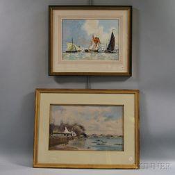 Two Framed Marine Watercolors:      Michael Norman (British, b. 1943), Top of the Flood Tide, River Orwell, Suffolk, England